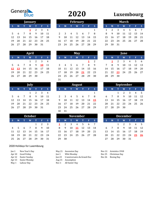 Image of Luxembourg 2020 Calendar in Blue and Black with Holidays