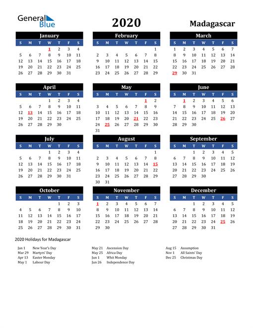 2020 Madagascar Free Calendar