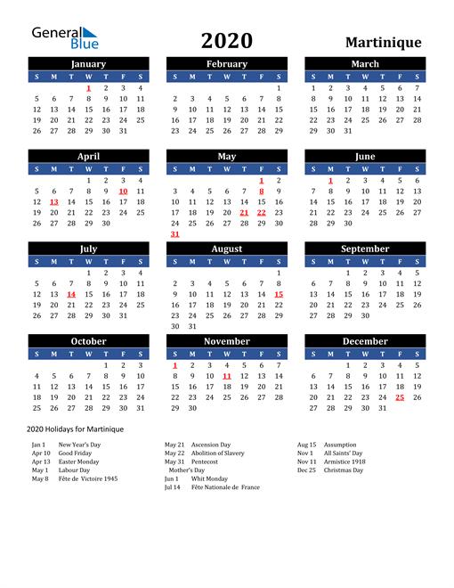 2020 Martinique Free Calendar