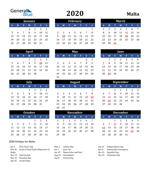 Image of Malta 2020 Calendar in Blue and Black with Holidays