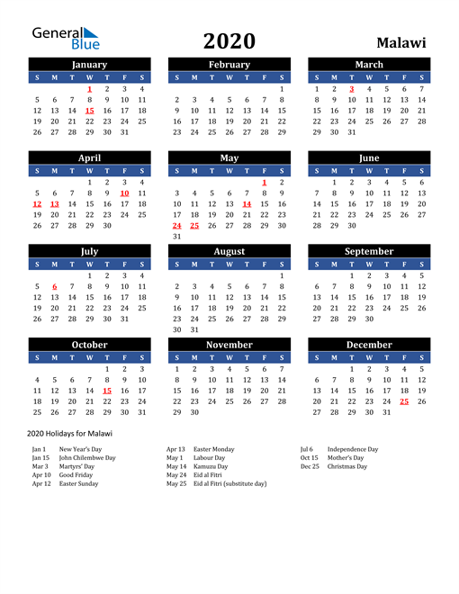 Image of Malawi 2020 Calendar in Blue and Black with Holidays