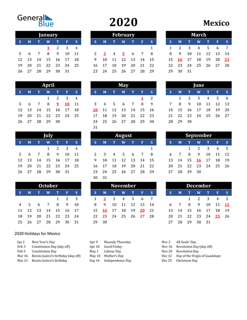Image of Mexico 2020 Calendar in Blue and Black with Holidays