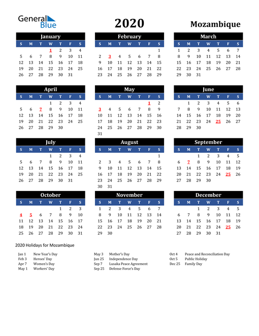 Image of Mozambique 2020 Calendar in Blue and Black with Holidays