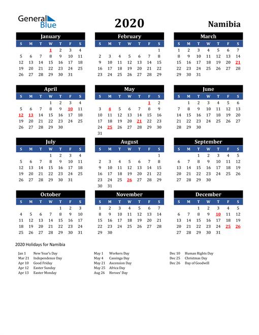 2020 Namibia Free Calendar