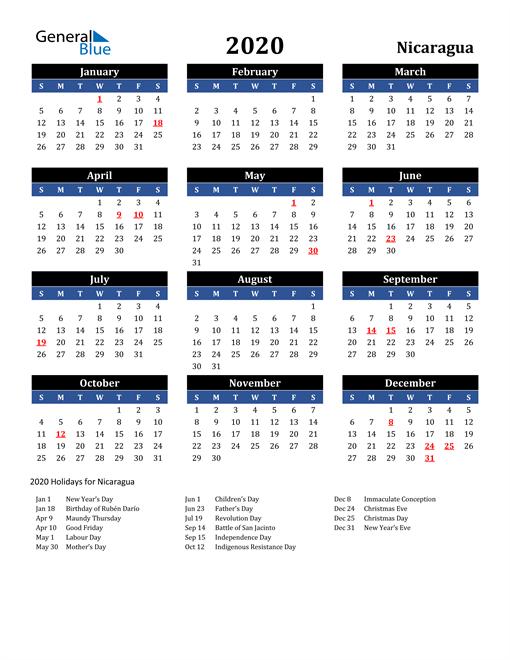 2020 Nicaragua Free Calendar