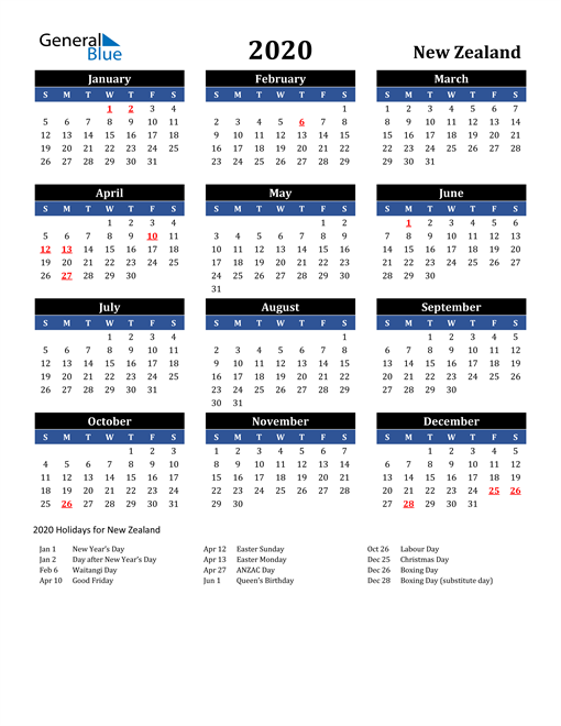 Image of New Zealand 2020 Calendar in Blue and Black with Holidays