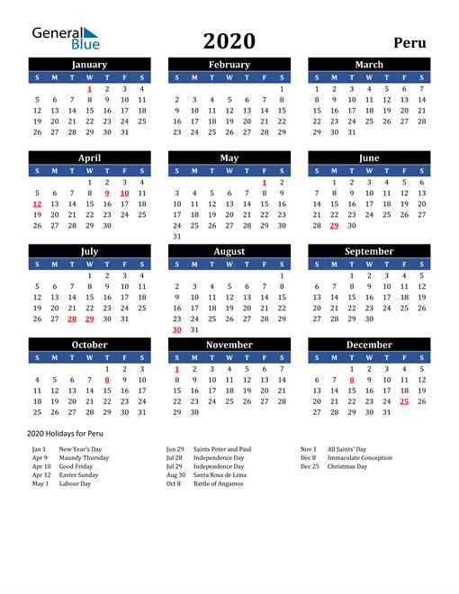 2020 Peru Free Calendar