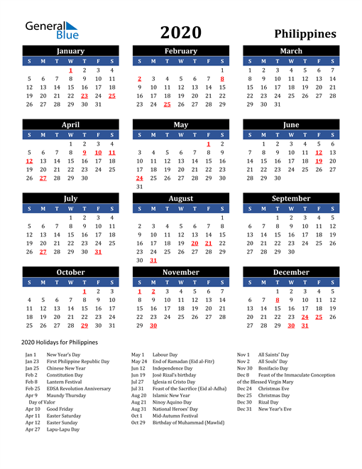 Image of Philippines 2020 Calendar in Blue and Black with Holidays