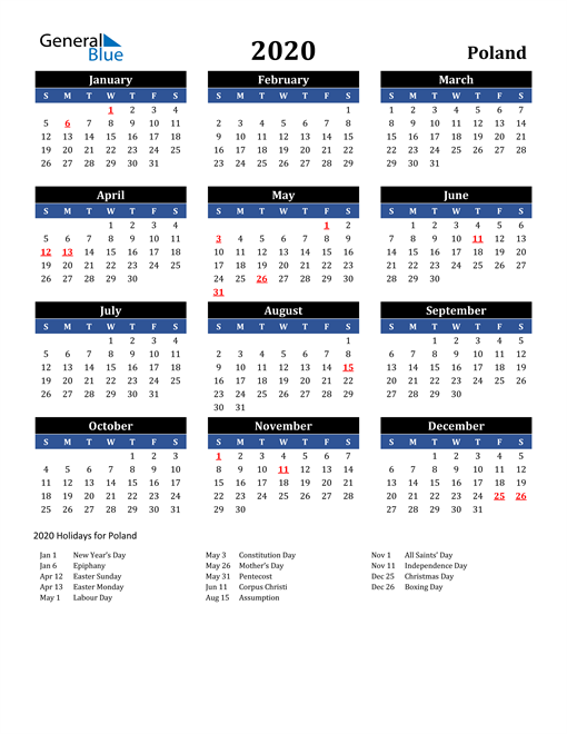 Image of Poland 2020 Calendar in Blue and Black with Holidays