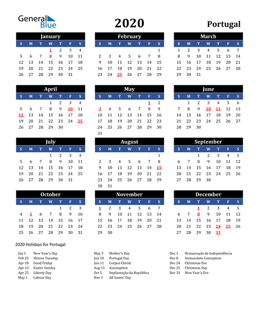 Image of Portugal 2020 Calendar in Blue and Black with Holidays