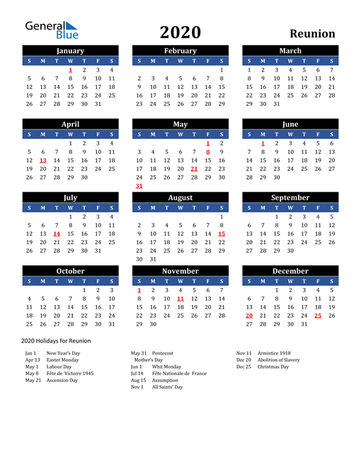 Image of Reunion 2020 Calendar in Blue and Black with Holidays