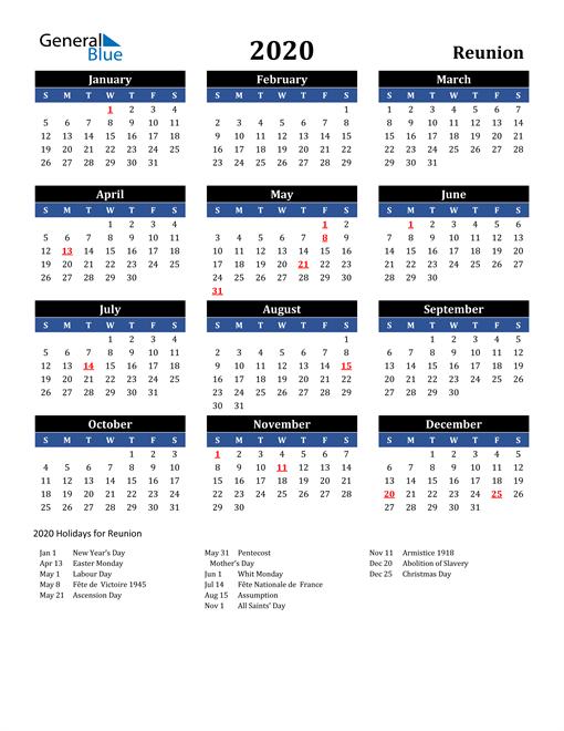 2020 Reunion Free Calendar