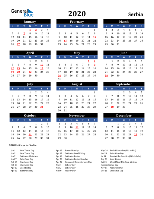 Image of Serbia 2020 Calendar in Blue and Black with Holidays