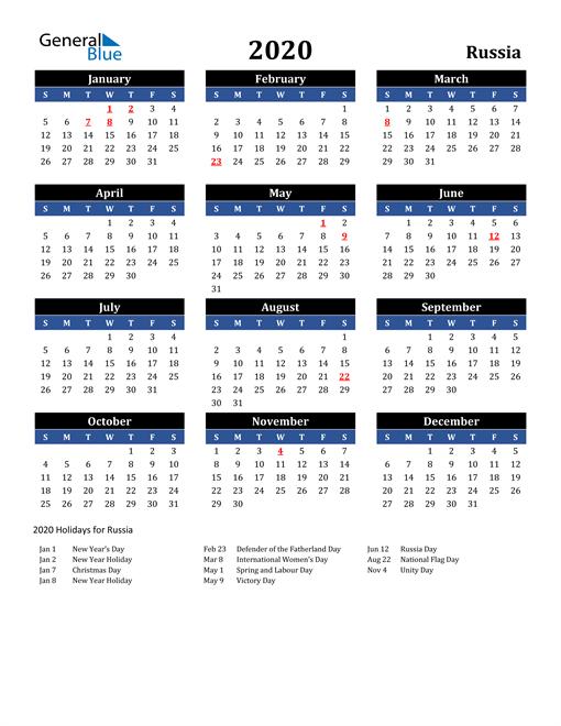 2020 Russia Free Calendar