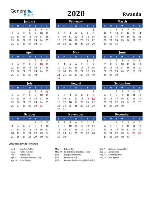 2020 Rwanda Free Calendar
