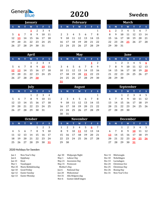 Image of Sweden 2020 Calendar in Blue and Black with Holidays
