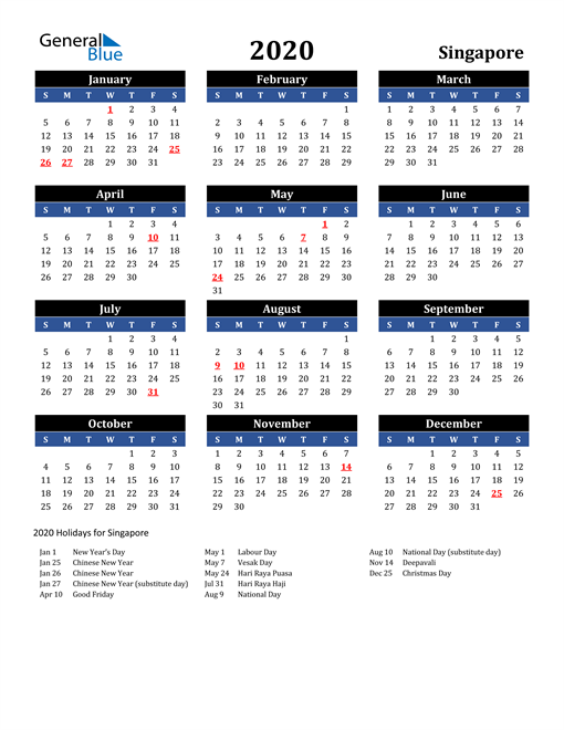 Image of Singapore 2020 Calendar in Blue and Black with Holidays