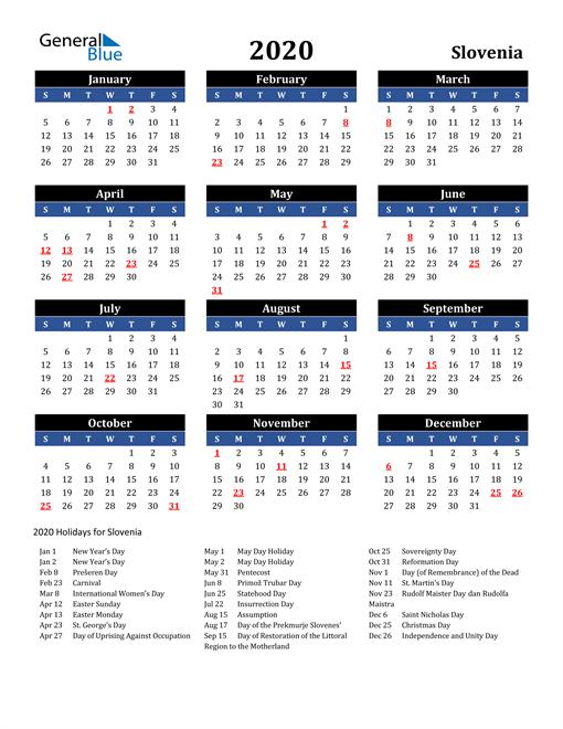 2020 Slovenia Free Calendar
