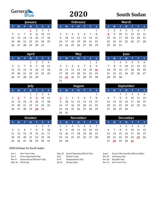 2020 South Sudan Free Calendar