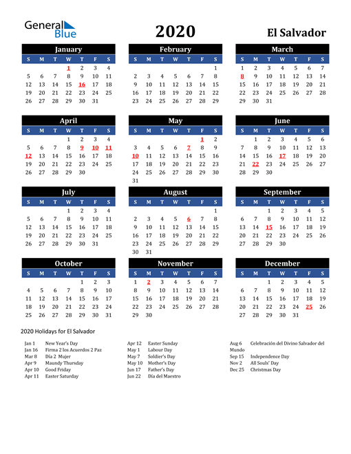 Image of El Salvador 2020 Calendar in Blue and Black with Holidays