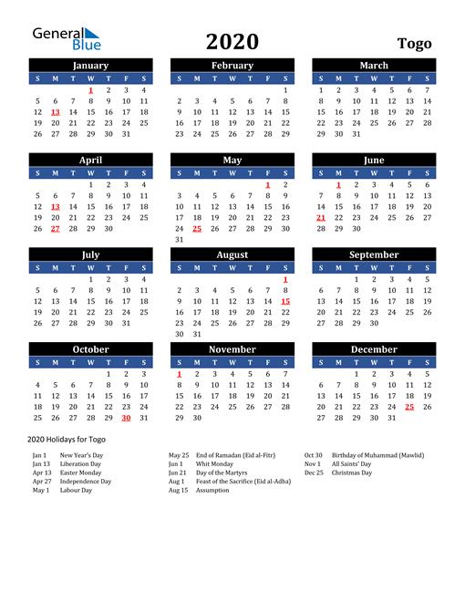 2020 Togo Free Calendar