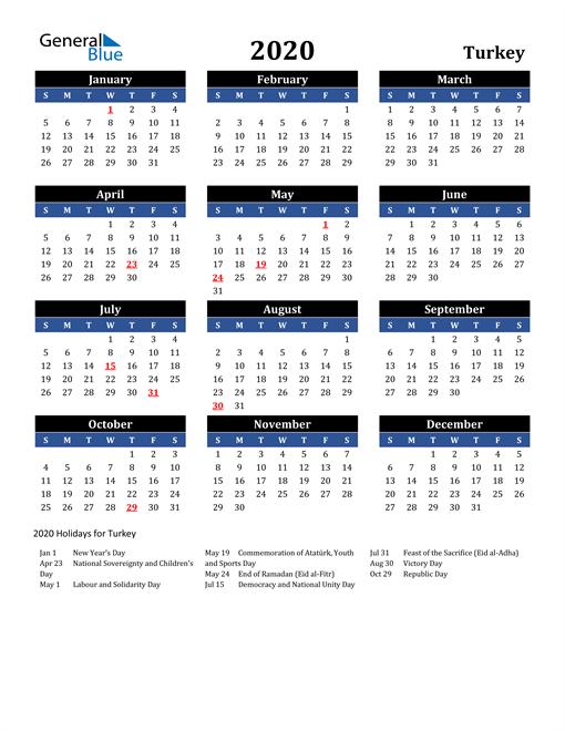 2020 Turkey Free Calendar