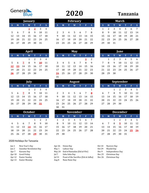 Image of Tanzania 2020 Calendar in Blue and Black with Holidays