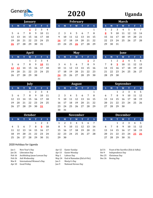 Image of Uganda 2020 Calendar in Blue and Black with Holidays