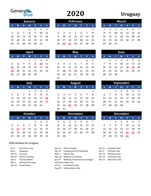 Image of Uruguay 2020 Calendar in Blue and Black with Holidays