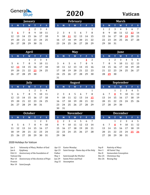 Image of Vatican 2020 Calendar in Blue and Black with Holidays