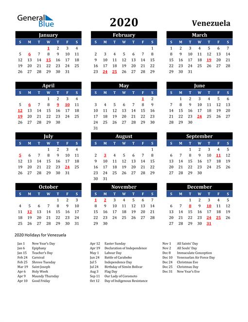 2020 Venezuela Free Calendar