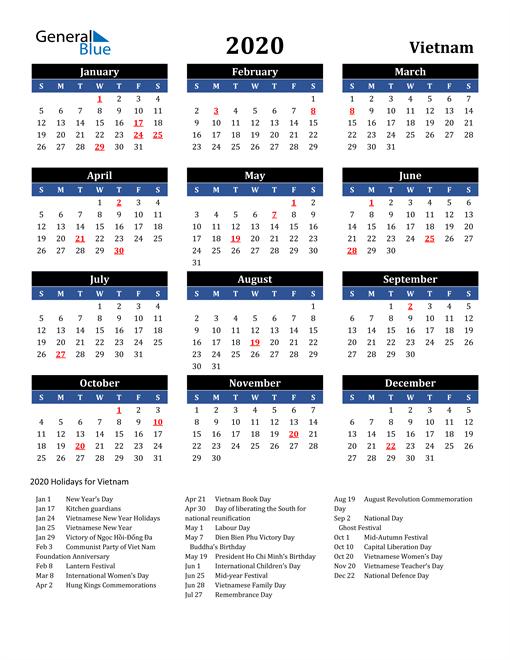 2020 Vietnam Free Calendar