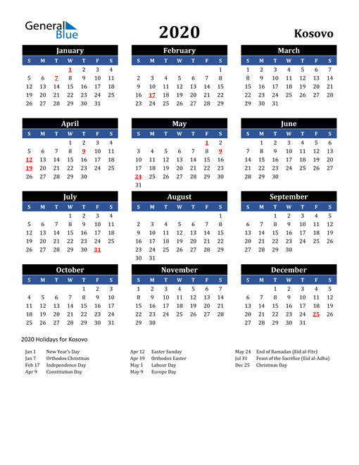 Image of Kosovo 2020 Calendar in Blue and Black with Holidays