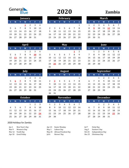 2020 Zambia Free Calendar
