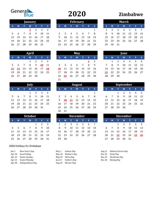 2020 Zimbabwe Free Calendar