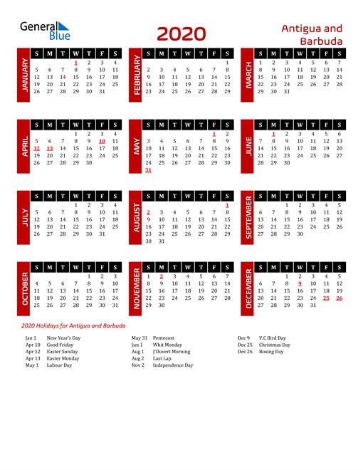 Download Antigua and Barbuda 2020 Calendar