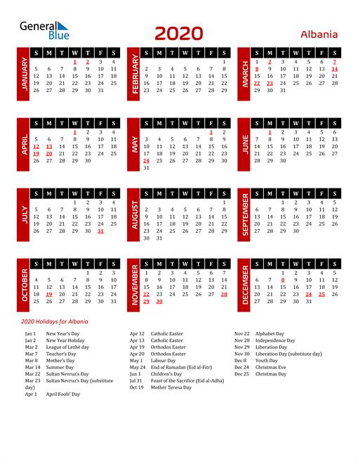 Download Albania 2020 Calendar