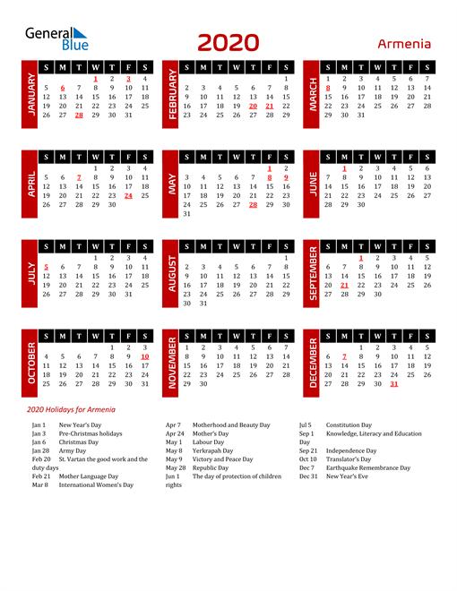 Download Armenia 2020 Calendar
