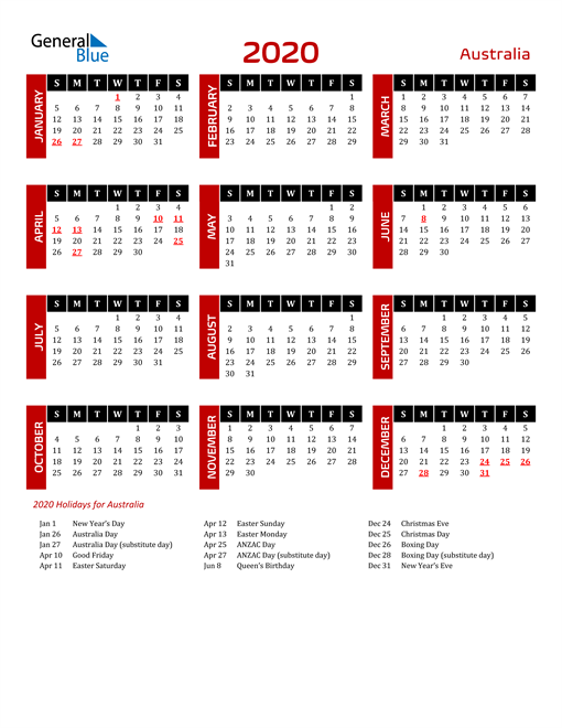 Download Australia 2020 Calendar