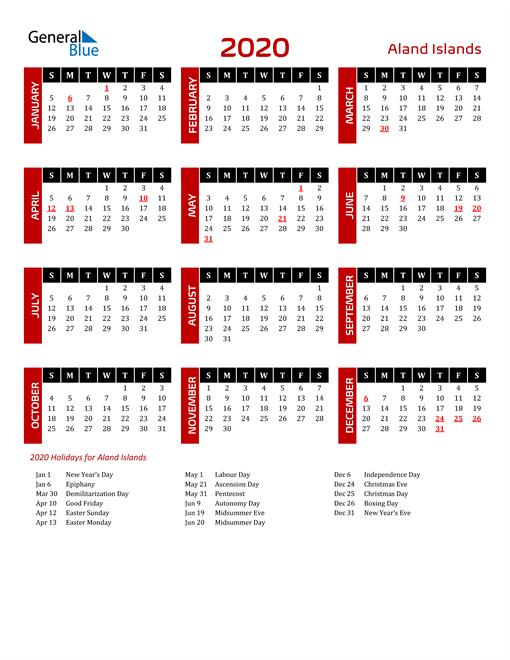 Download Aland Islands 2020 Calendar
