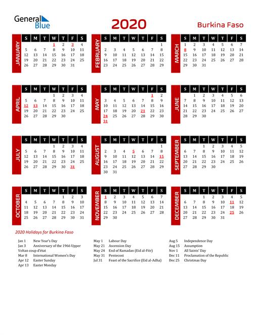 Download Burkina Faso 2020 Calendar