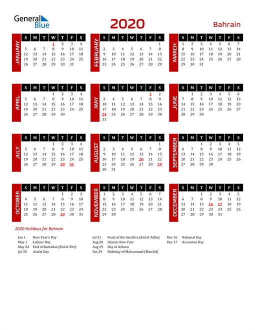 Download Bahrain 2020 Calendar