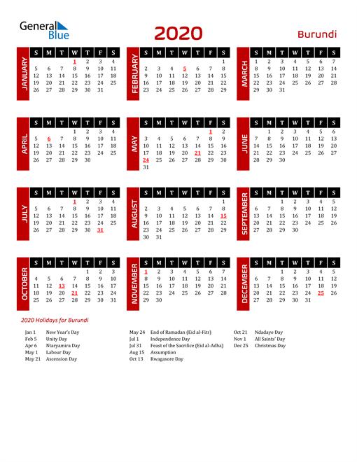 Download Burundi 2020 Calendar