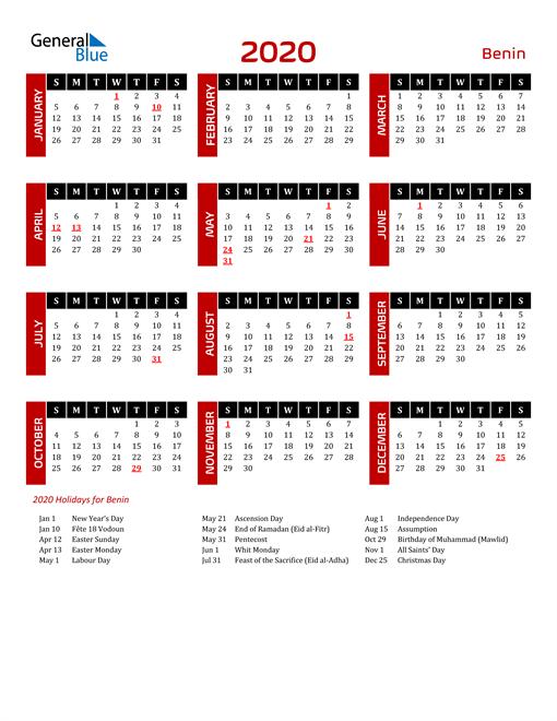 Download Benin 2020 Calendar