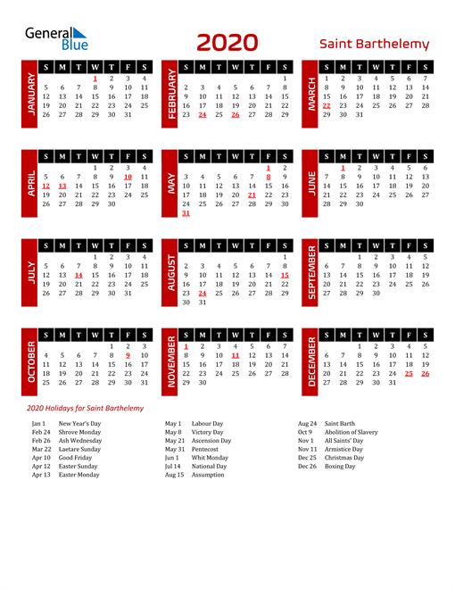 Download Saint Barthelemy 2020 Calendar