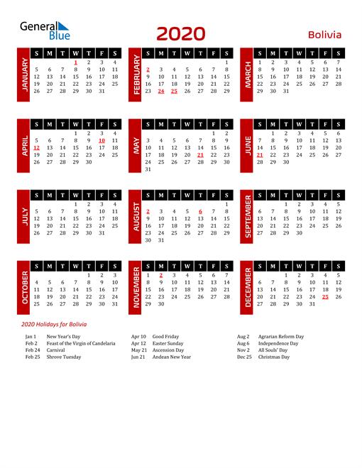 Download Bolivia 2020 Calendar
