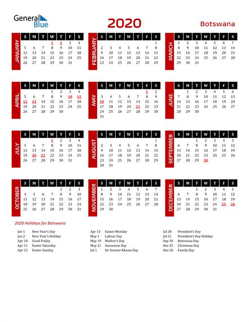 Download Botswana 2020 Calendar