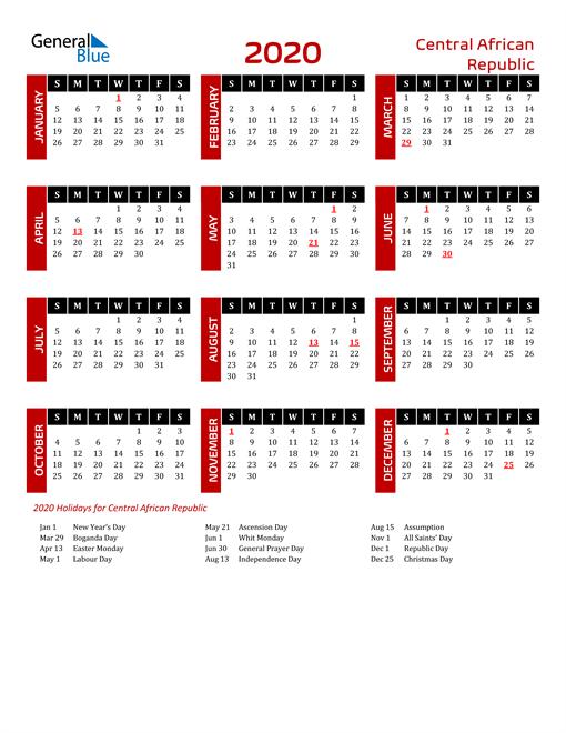 Download Central African Republic 2020 Calendar