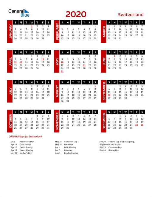Download Switzerland 2020 Calendar