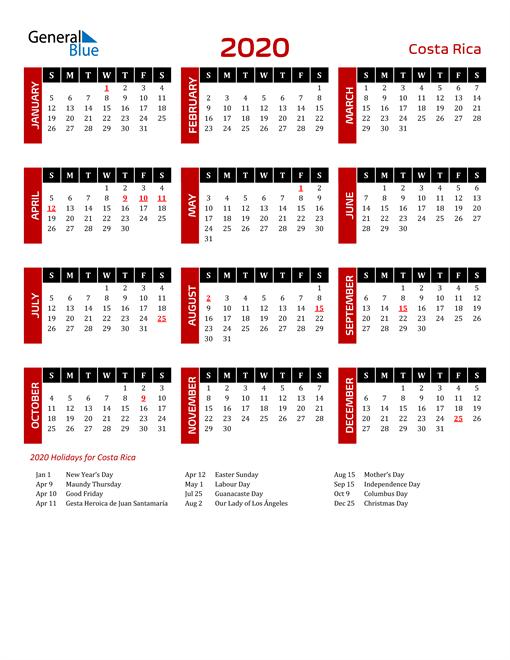 Download Costa Rica 2020 Calendar